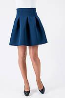Молодежная росклешонная юбка синего цвета