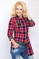 Удлиненная женская рубашка свободного кроя