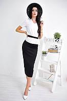 Женский костюм: белая блуза баска и юбка-миди (3 цвета) черный