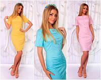 Коттоновое женское платье-футляр №168 (р.42-46)