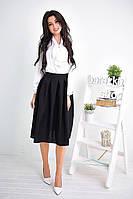 Женский комплект: белая блуза с юбка-солнце миди