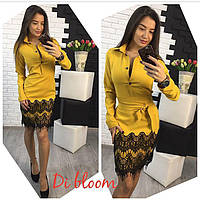 Женское платье с отделкой из гипюра (6 цветов)