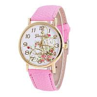 Женские часы с цветами Geneva Platinum (розовые)