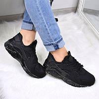 Кроссовки женские Nike Huarache черные подошва с напылением 3528 , обувь дропшиппинг, фото 1