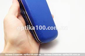 Синий вертикальный футляр для очков. На магните, фото 2