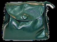 Женская сумочка из натуральной кожи с пуговицей зеленого цвета GIF-060331, фото 1