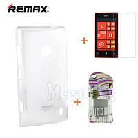 Remax Силиконовый чехол+пленка+пакет для Nokia Lumia 520