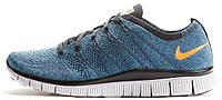 """Мужские кроссовки Nike Free Flyknit NSW """"Squadron Blue/Bright Mandarin"""" (Найк Фри Ран Флайнит) синие"""