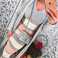 Женский вязанный костюм комплект: платье и кардиган, машинная вязка