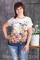 Блуза летняя большого размера ПЛ3-471(р.52-62)