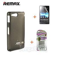 Remax Силиконовый чехол+пленка+пакет для Sony ST27i Xperia Go