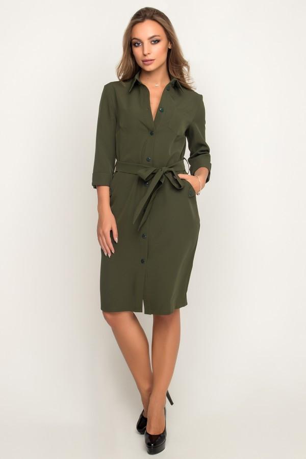 Платье-рубашка с пояском на пуговицах