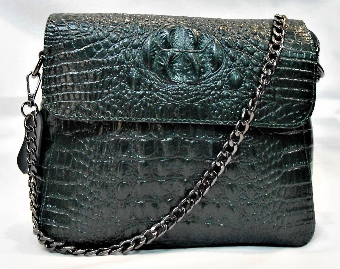 Интересная женская сумка из натуральной кожи темно-зеленого цвета RYW-044018, фото 1