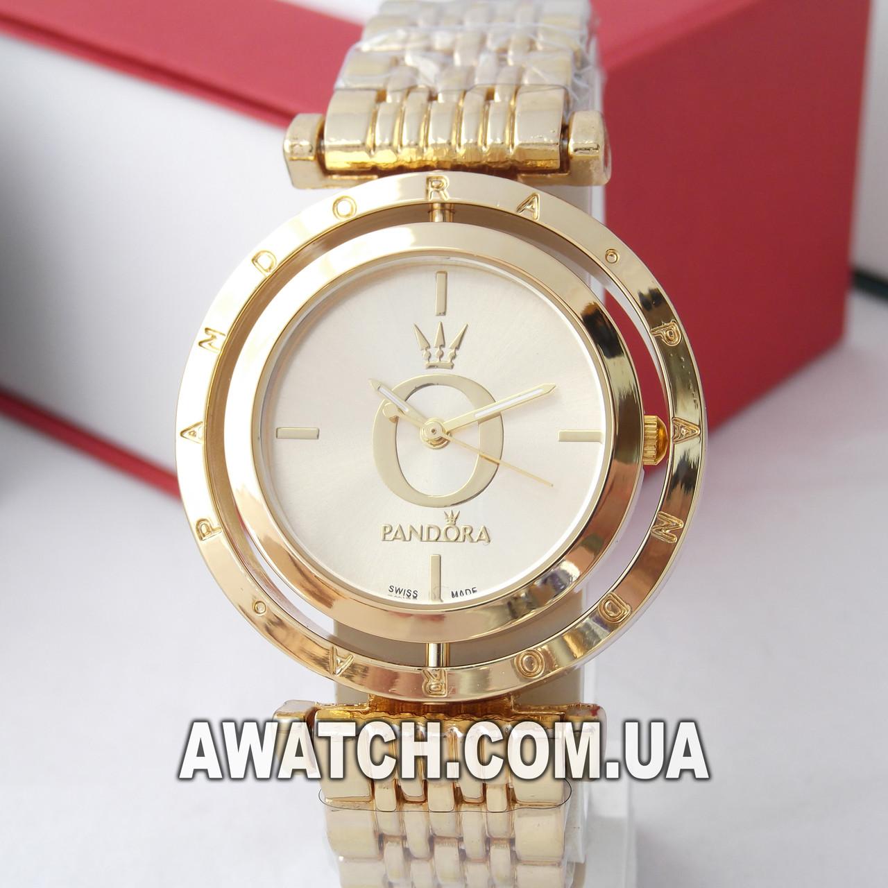e907d769 Золотые наручные часы Pandora 6861-1 с вращающимся циферблатом -  Интернет-магазин AWATCH в