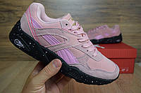 Подростковые+женские кроссовки Puma trinomic розовые на черной замша