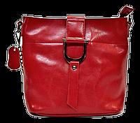 Сумка женская красного цвета из натуральной кожи с пряжкой FFG-566011, фото 1
