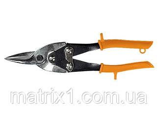 Ножиці по металу, 250 мм, пряморежущие, обливные ручки// SPARTA