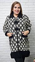 Пальто демисезонное больших размеров из велюра с акрилом.