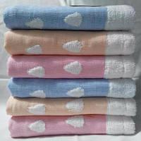Махровые полотенца для детей в мишках и сердечках  Размер: 1,0 x 0,5