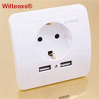Розетка Wilteexs с 2 USB-портами для зарядки смартфонов/планшетов, фото 1