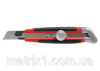 Нож, 18 мм, выдвижное лезвие, металлическая направляющая, винтовой фиксатор лезвия// MTX