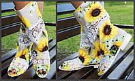 Цветные стильные тканевые полусапожки Подсолнухи с открытым носком и кружевными вставками. Арт-0674