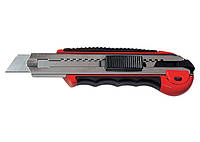 Нож, 18 мм, выдвижное лезвие, метал. направляющая, обрезиненная ручка + 5 лезвий// MTX MASTER