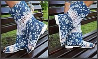 Синие стильные джинсовые женские тканевые полусапожки с открытым носком и кружевными вставками. Арт-0218