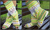 Цветные стильные тканевые полусапожки с открытым носком и кружевными вставками. Арт-0677