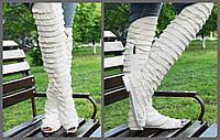 Светло бежевые высокие стильные женские тканевые сапоги (ботфорты) Рюши с открытым носком. Арт-0141, фото 1