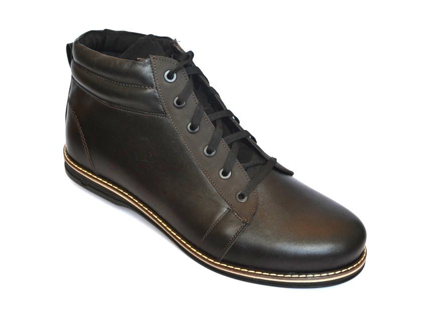 Большие размеры кожаные зимние мужские ботинки Rosso Avangard Bridge BS черные