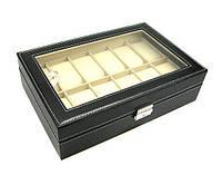 Шкатулка под часы и браслеты 12 слотов черная