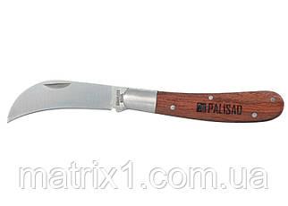Нож садовый, 170 мм, складной, изогнутое лезвие, деревянная рукоятка// PALISAD