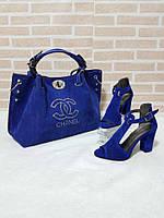 Сумка, босоножки с красивым каблуком Chanel электрик
