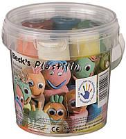 Пластилин классический Becks Plastilin 600г 6 цветов с формами в ведерке (B100371)