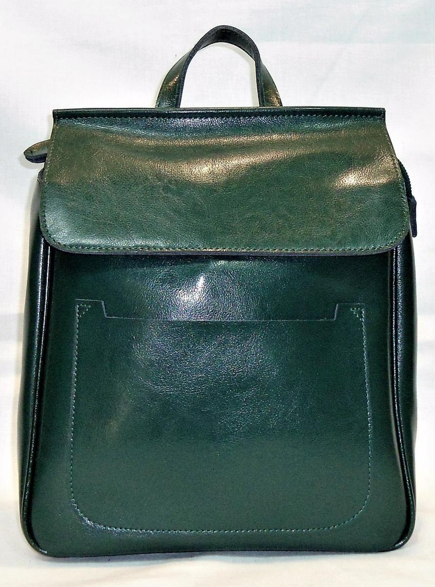 Модный женский рюкзак зеленого цвета из натуральной кожи NNW-001300, фото 1