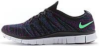 "Мужские кроссовки Nike Free Flyknit NSW ""Black/Green Glow/Vivid Purple"" (Найк Фри Флайнит) черные"