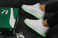 Кроссовки  LED Puma Suede белые 11 режимов (Реплика ААА+), фото 1