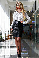 Черная кожаная юбка с карманами 42-50 размеры, фото 1