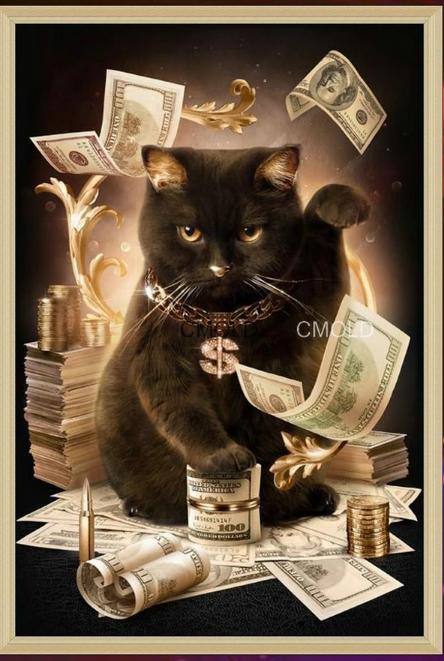Денежный кот вышивка