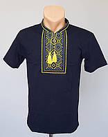 Мужская трикотажная футболка-вышиванка с воротником стойка