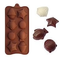 """Силиконовая форма для шоколада """"Ракушки"""" из 8 фигурок"""