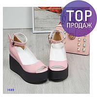 Женские туфли на танкетке 10 см, натуральная кожа, пудра /  туфли женские с ремешком, модные