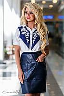 Синяя кожаная юбка с карманами 42-50 размеры