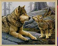 """Набор алмазной вышивки """"Волчица с волчонком"""""""