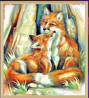 """Алмазная вышивка размер изображения 30х27 - набор """"Влюбленные лисички"""""""