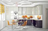 Кухня МДФ крашенный с радиусным фасадом + скинали 004