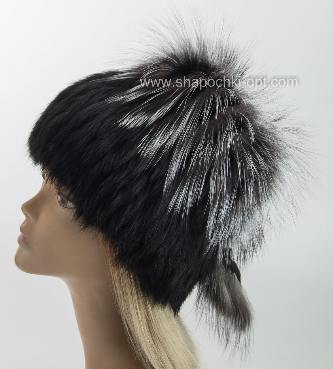 женская меховая шапка на вязаной основе с чернобуркой и кроликом