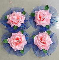 Цветы на ручки свадебного авто (синий фатин+розовые розы) 4 шт.