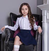 Блуза детская школьная с жемчужной брошью Paris Размер 122- 158